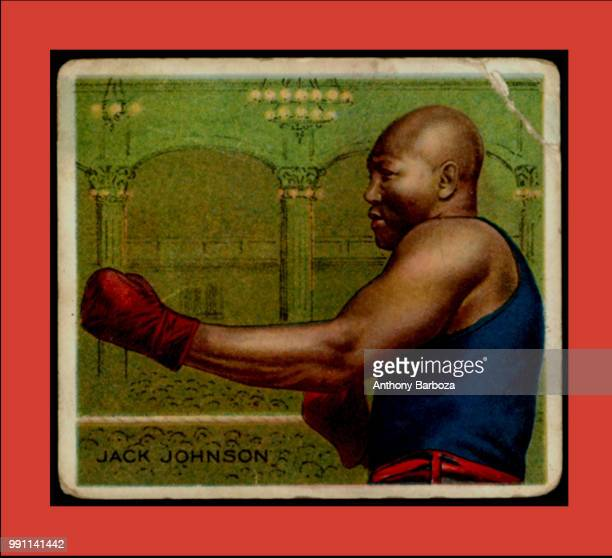 Postcard features an illustration of an American heavyweight boxer Jack Johnson in a fighting stance 1900s