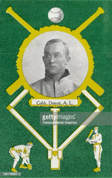 Postcard features baseball player Ty Cobb as well as several baseball themed illustrations, 1908.