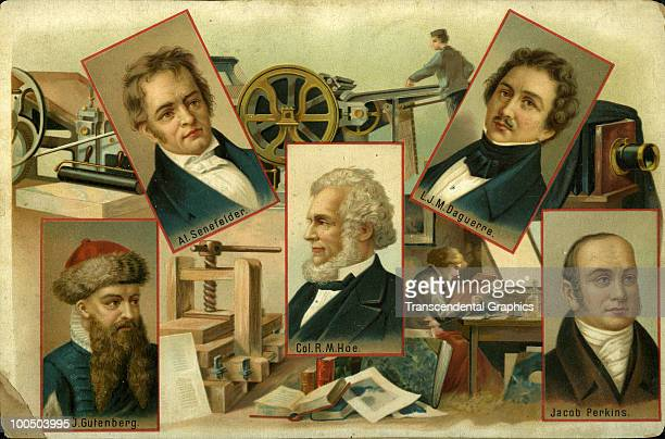 Postcard features vignettes of five inventors associated with various aspects of printing accompanied by illustrations of some of their inventions...