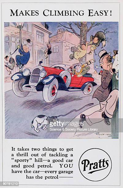 Postcard featuring a cartoon by Ridgewell one of a series of seven postcards advertising Pratts petrol The illustration shows a car speeding over the...