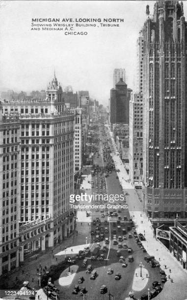 Postcard featuring an elevated view, looking north along Michigan Avenue, showing the Wrigley Building and the Tribune Tower , Chicago, Illinois,...