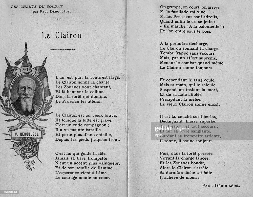 Postcard for days in tribute to french soldiers on october 31 and november 1st, 1915 with words of song by Paul Deroulede about the bugler who often die in the battle : Fotografía de noticias