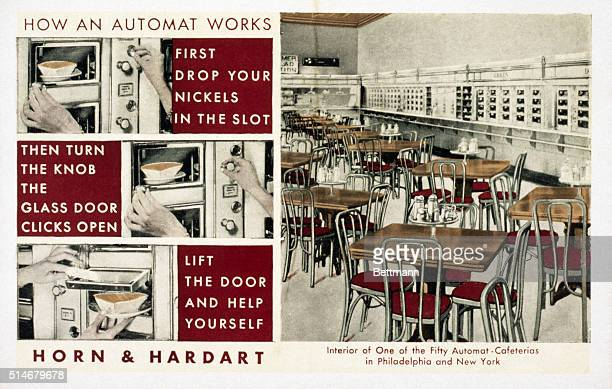 A postcard for Horn Hardart shows how an automat works