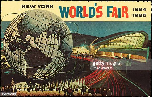 A postcard for the World's Fair featuring the Unisphere and Eero Saarinen's TWA Terminal at Kennedy Airport | Located in Rykoff Collection