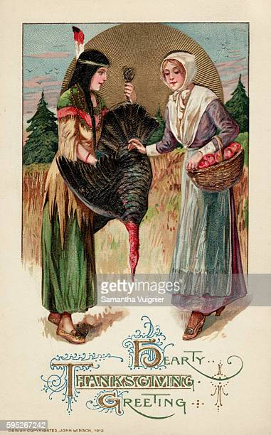 A postcard from circa 1912 with a Native Ameircan woman presenting a turkey to a Pilgim woman for the first Thanksgiving feast