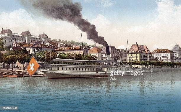Postcard from Evian les Bains arrivee boat around 1919