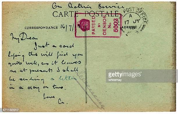 wwi cartão postal da frança 1918 - marca postal - fotografias e filmes do acervo