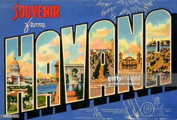 "Postcard from Havana reads ""Souvenir from Havana"" from 1950 in Havana."