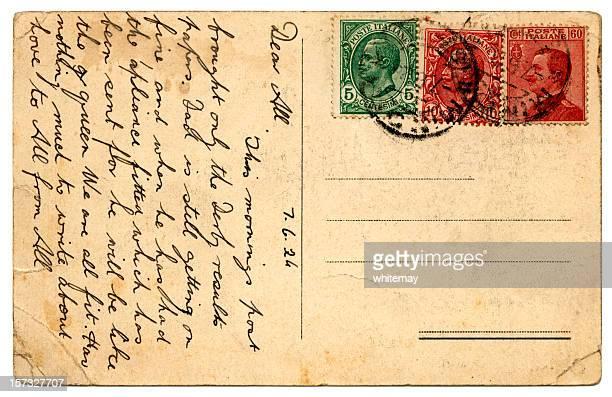 cartão postal da itália 1924 - marca postal - fotografias e filmes do acervo
