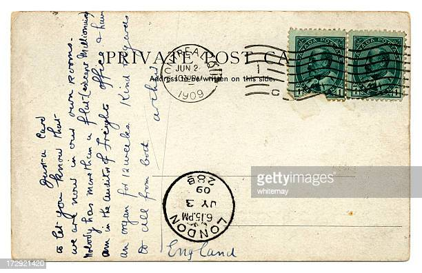 postcard from montreal to london 1909 - postcard stock pictures, royalty-free photos & images