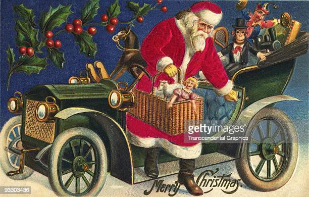 Postcard from the 1910 era shows Santa Claus delivering toys from a roadster.
