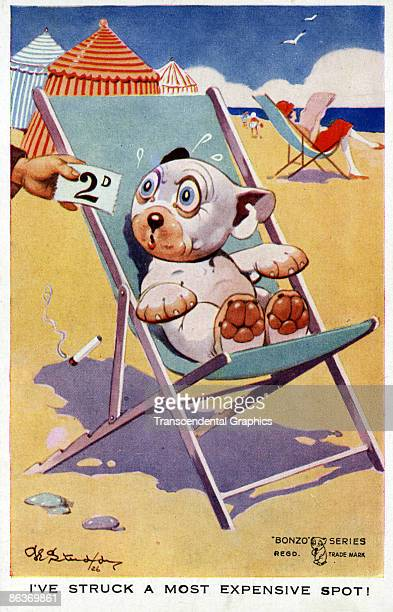 Postcard illustrated by George Studdy features Bonzo the Dog seated in a canvas beach chair and so surprised by a hand that holds out a 2 pence price...