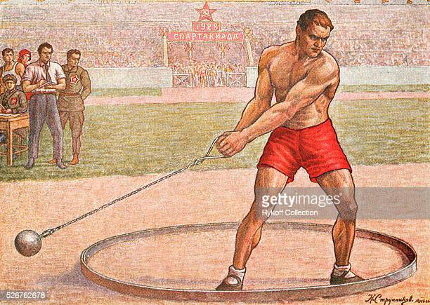 Postcard is a reproduction of a painting showing the hammer throw at the 1928 Spartakiad, a Soviet athletic competition.