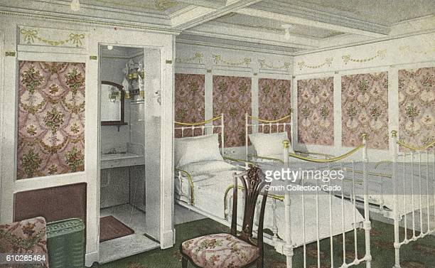 Postcard of a Chamber De Lux aboard the RMS Olympic 1914 From the New York Public Library