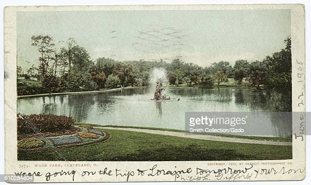 Postcard of a fountain and the grounds at Wade Park Cleveland Ohio 1903 From the New York Public Library