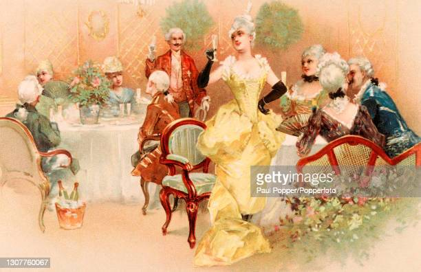 Postcard of a group of men and women in a dining room drinking a toast, the men wear knee length coats with matching knee breeches, the women wear...