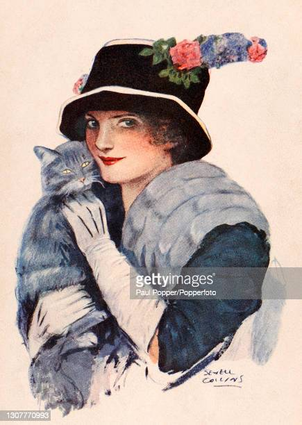 Postcard of a young woman by Sewell Collins entitled Disturbers of the Peace, the woman wears a blue coat with elbow length gloves, fur stole and...