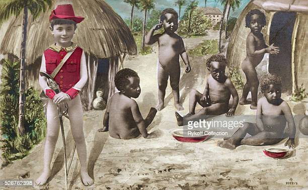 Postcard of Boy Soldier with 'Native' Babies