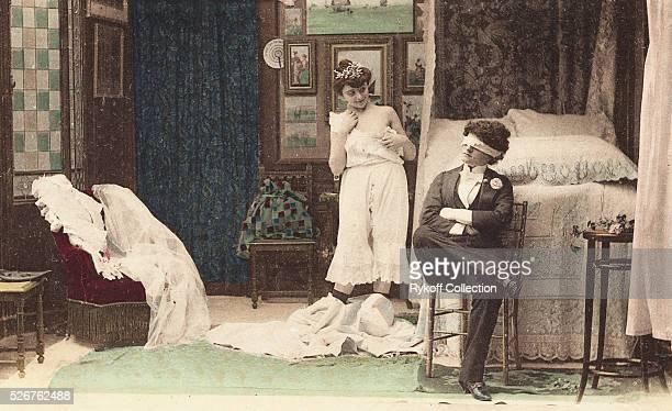Postcard of Bride Undressing for Blindfolded Groom