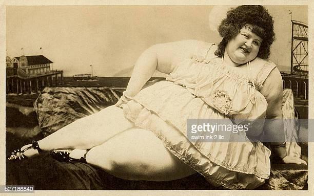 Postcard of carnival fat lady