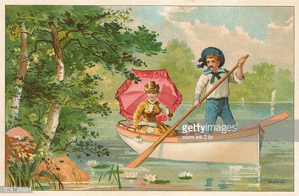 Postcard of Couple Rowing