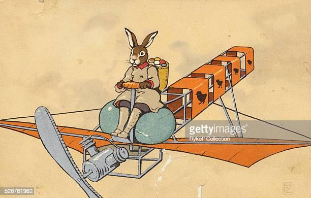 Postcard of Flying Easter Bunny
