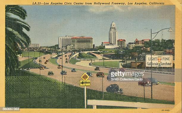 Postcard of Hollywood Freeway, with Los Angeles Civic Center visible in the background, Los Angeles, California, 1943.