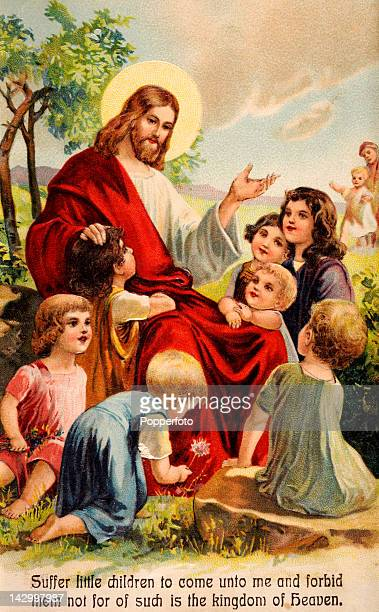 A postcard of Jesus Christ teaching the little children published circa 1900