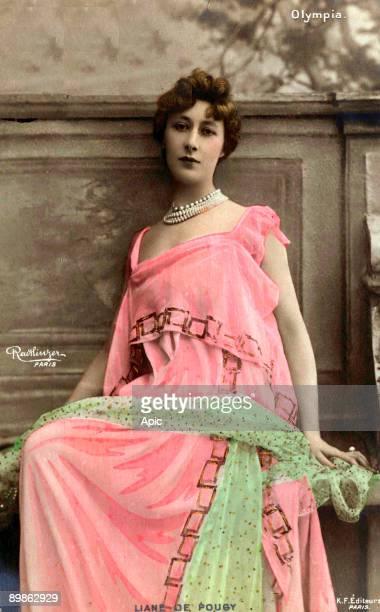 postcard of Liane de Pougy famous french courtesan dancing in Paris c1900