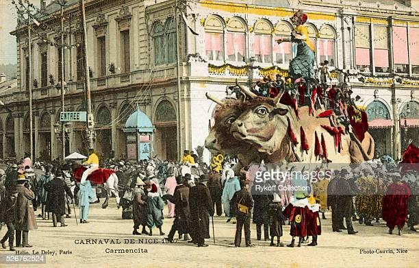 Postcard of MardiGras Festivities in Nice