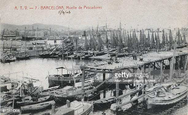 Postcard of small boat harbor Barcelona Spain circa 1905