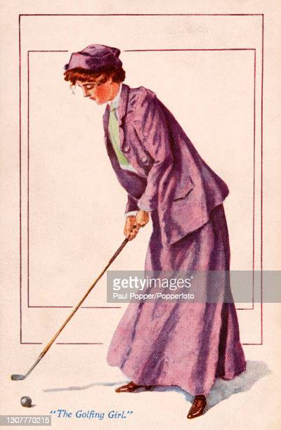 Postcard of The Golfing Girl from The Sports Girls series by James Henderson, a young woman is shown playing golf wearing a two piece purple sports...