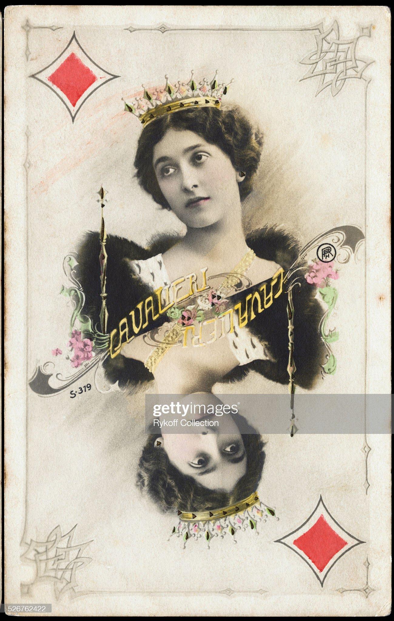 Postcard of Lina Cavalieri as Queen of Diamonds : News Photo