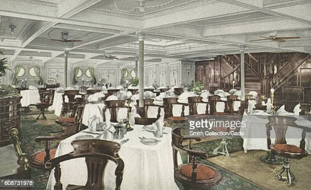 Postcard of the main dining saloon of the RMS Olympic 1914 From the New York Public Library