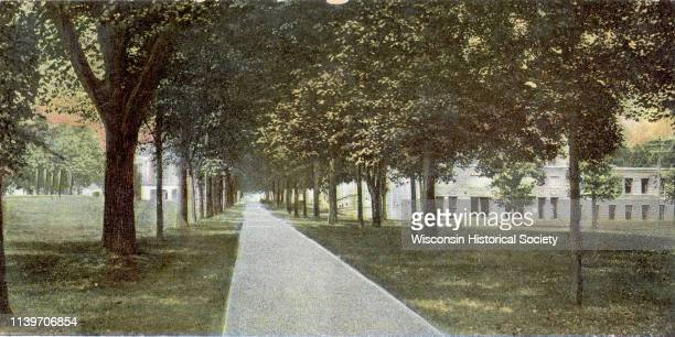 A postcard of the main walk leading to Bascom Hall on the University of WisconsinMadison campus then Main Hall Madison Wisconsin 1905