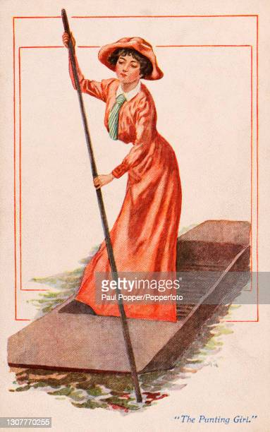Postcard of The Punting Girl from The Sports Girls series by James Henderson, a young woman is shown punting on a river wearing a long orange dress...