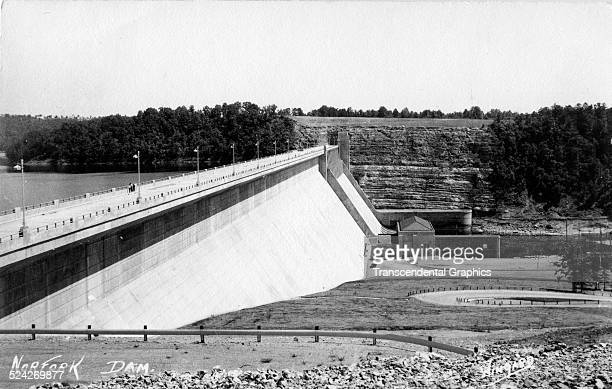 Postcard of the recently completed Norfork Dam just north of Mountain Home Arkansas 1957