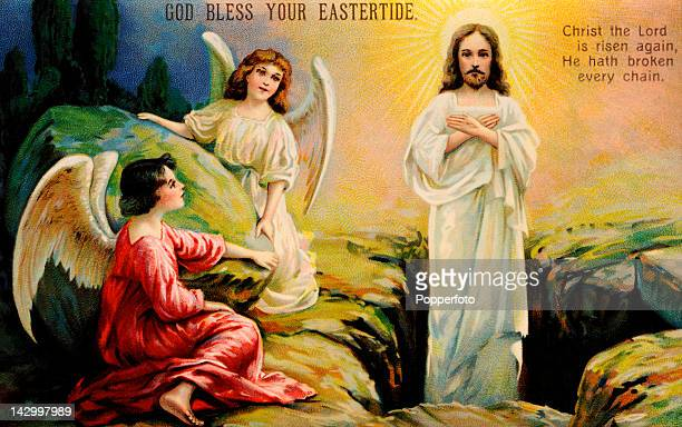 A postcard of the risen Christ with angels at Easter published circa 1900