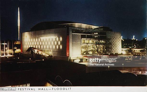 Postcard of the Royal Festival Hall Floodlit Festival of Britain 1951