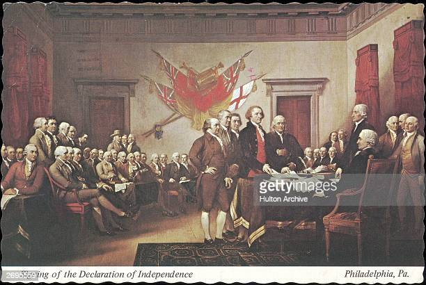 Postcard of 'The Signing of the Declaration of Independence' painted by John Trumbull Philadelphia Pennsylvania