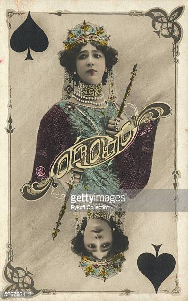 A postcard of the Spanish singer Carolina Otero as the Queen of Spades | Located in Rykoff Collection