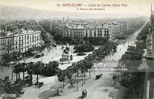 Postcard of treelined Calle de Cortes Barcelona Spain circa 1910