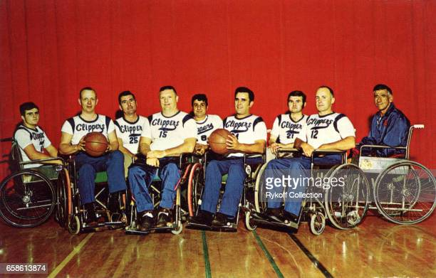 Postcard portrait of basketball team the New England Clippers a team comprised of wheelchairbound paraplegic veterans 1948