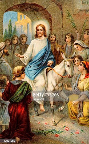 A postcard portraying Jesus Christ's entrance into Jerusalem on Palm Sunday published circa 1900