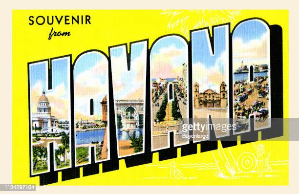Postcard reads 'Souvenir from Havana' with illustrations of locations within the letters of 'Havana,' 1939.