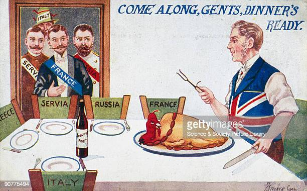 Postcard showing men representing France Italy Russia and Serbia being invited to take their seats at a dinner table where a British man is about to...