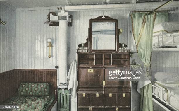 Postcard showing the interior of a state room on the RMS Olympic 1914 From the New York Public Library