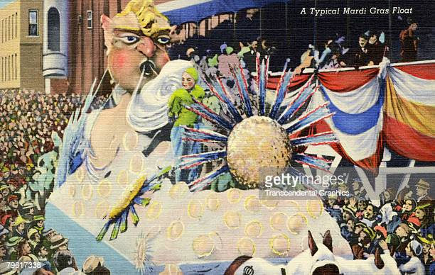 Postcard shows 'A Typical Mardi Gras Float' as it navigates along a street crowded with onlookers New Orleans Louisiana early twentieth century