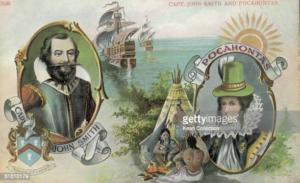 A postcard shows colonial settler and soldier Captain John Smith who was saved from execution by Native American Pocahontas mid 1610s Smith wears...