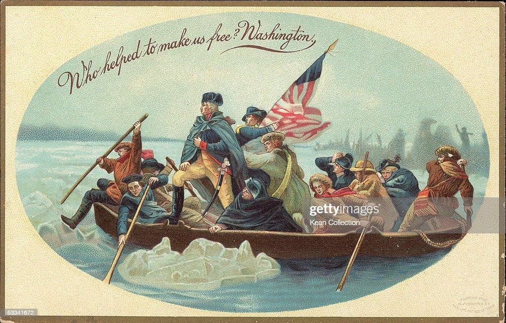 Postcard Of Washington Crossing The Delaware River : News Photo